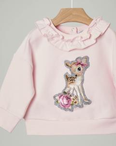 Felpa rosa in cotone elasticizzato con rouches sul colletto e patch con ricamo cerbiatto sul davanti 9-36 mesi