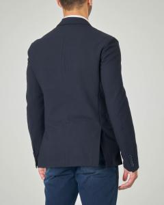 Giacca blu a due bottoni in tessuto armaturato