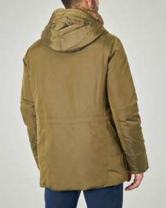 Parka Hasselblad verde militare in oxford tecnico con collo in rex lapin