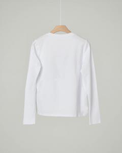 T-shirt bianca manica lunga con disegni a cuore in velluto bicolore 10-16 anni