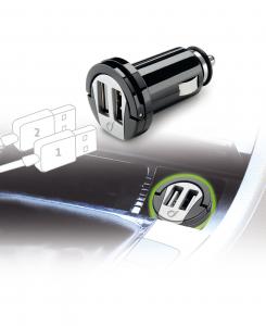 Cellularline USB Car Charger Dual - Universale Micro caricabatterie da auto con doppia presa USB Nero