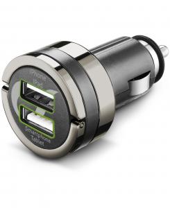 Cellularline USB Car Charger Dual Plus - Universale Caricabatterie veloce a 21W e finiture in metallo Nero