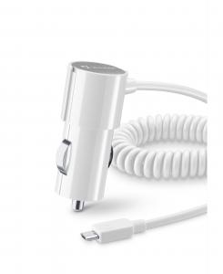 Cellularline Car Charger #Stylecolor - Micro USB Caricabatterie da auto colorato e compatto Bianco