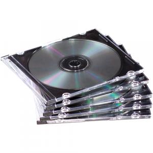Fellowes 98316 custodia CD/DVD Custodia Jewel 1 dischi Nero, Traslucido