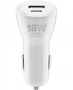 Cellularline USB-C™ Car Charger Dual 30W - iPhone 8 or later and iPad Pro (2018) Caricabatterie da auto con porta USB-C 18W e porta USB-A 12W per la carica più veloce di iPhone 8 o successivi Bianco