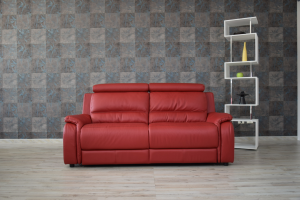 LEWIN Divano relax in pelle rosso 3 posti con meccanismi recliner elettrici e poggiatesta regolabili