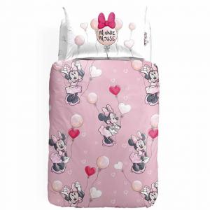 Disney Set Copripiumino Minnie Mouse LOVE Caleffi letto singolo