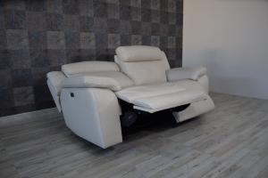 ZEPH - Divano relax in pelle grigio perla a 3 posti con meccanismi recliner elettrici - schienale alto
