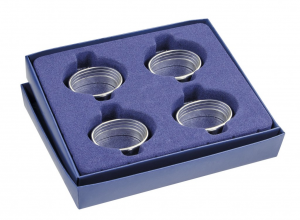 Portatovagliolo ovale silver plated set 4 pz stile Inglese cm.3,8x5,5x2,2h