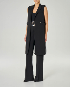 Pantaloni palazzo a vita alta in viscosa elasticizzata con cintura con fibbia quadrata
