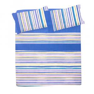Lenzuola singole 1 piazza completo in cotone NOLI righe blu