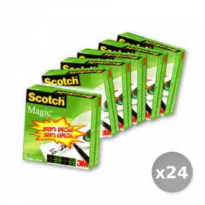 Set 24 3M SCOTCH rotolo adesivo 3m 810 magic 19x33 5+1 55677 cancelleria