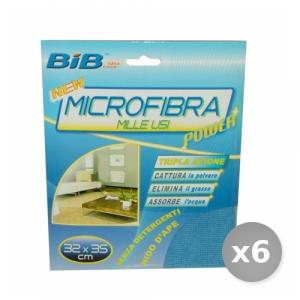 Set 6 BIB Panno Milleusi Microfibra 32x35 cm Attrezzi Pulizie