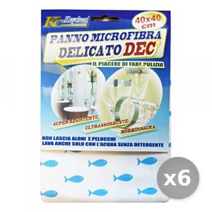 Set 6 BIB Panno Delicato dec Microfibra 40x40 cm - Panni Pulizia Casa
