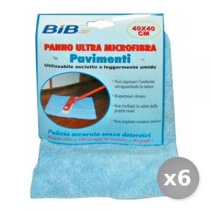 Set 6 BIB Panno Pavimenti Microfibra 40x40 cm Attrezzi Pulizie