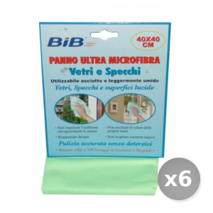 Set 6 BIB Panno Vetri Microfibra 40x40 cm Attrezzi Pulizie