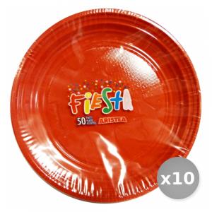 Set 10 ARISTEA Piatti Colorato Dessert 50 Pezzi Arancio Articolo 155807 Piatti