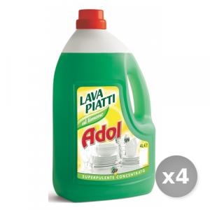 Set 4 ADOL Detersivo profumato per 4L piatti limone