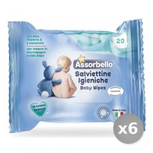 Set 6 ASSORBELLO Salviette Baby 20 Pezzi Cura del Bambino e Neonato