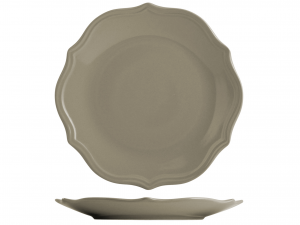 H&H Piatto Ceramica Adele Tortora Piano Cm27 Arredo Tavola