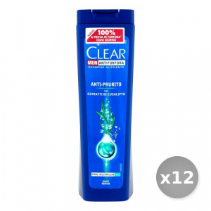 Set 12 CLEAR Shampoo anti-prurito eucalipto 250 ml per la cura dei capelli