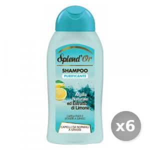 Set 6 SPLEND'OR Shampoo Purificante Argilla/limone 300 ml