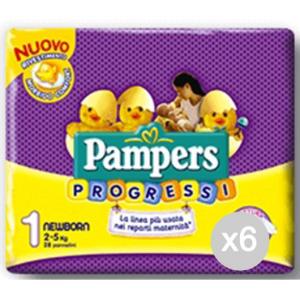 Set 6 PAMPERS Progressi 1 Newborn 2/5 Kg X28 Igiene E Cura Del Bambino