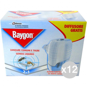 Set 12 BAYGON Spina Base Box +Ricarica Liquida Repellente Insetticida