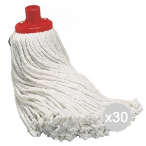 Set 30 ARCOBALENO Mop Cotone Filo Tagliato Cm 23 Attrezzo Pulizia Della Casa