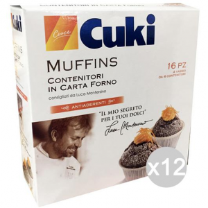 Set 12 CUKI Muffin Contenitori Carta Da Forno 16Pezzi New Accessorio Per Pasticceria