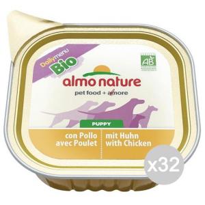 Set 32 ALMO NATURE Cane 307 Vaschetta 100 Bio Puppy Pollo Alimento Per Cani