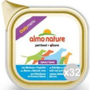 Set 32 ALMO NATURE Cane 224 Vaschetta 100 Merluzzo Fag.Daily Alimento Per Cani