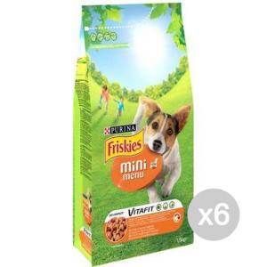 Set 6 FRISKIES Cane Croccantini Kg 1,5 Mini Menu Pollo Alimento Per Cani