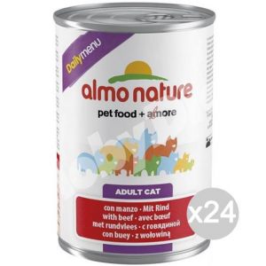 Set 24 ALMO NATURE Gatto 161 Lattina Gr 400 Manzo Daily Cibo Per Gatti