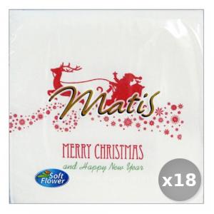 Set 18 SOFT FLOWER Natale Rosso-bianco 33x33 30 Pezzi Tovaglioli Accessori per la Tavola