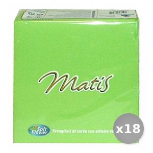 Set 18 SOFT FLOWER Soft Fiore Verde Chiaro 33x33 30 Pezzi Tovaglioli Accessori per la Tavola