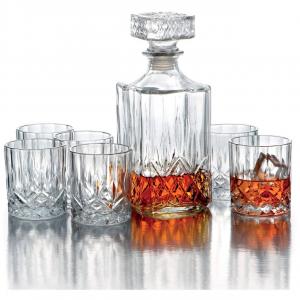 Set Whisky bottiglia e 6 bicchieri in Cristallo stile Opera Rcr