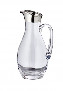Brocca in vetro con bordo filo platino 1800ml cm.30h diam.10