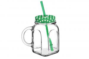 Mug boccale in vetro con cannuccia e capsula verde cm.8x8x13h