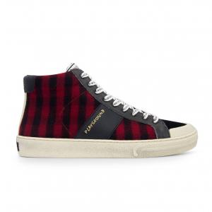 Sneaker alta tartan rosso/nero Playground