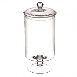 Scatola potiche in vetro con coperchio cm.44h diam.20