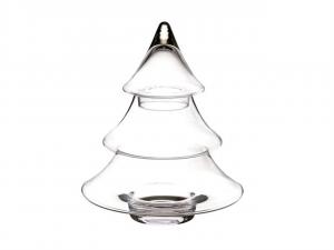 Biscottiera in vetro a forma di albero di Natale cm.25h diam.18