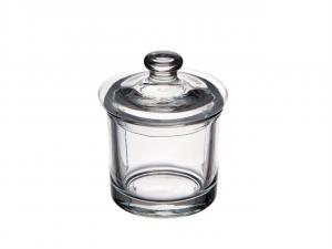 Scatola in vetro con coperchio cm.11h diam.9
