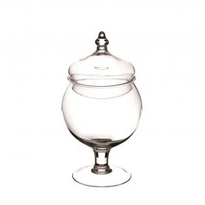 Scatola in vetro con coperchio per confettata caramellata cm.28h diam.15