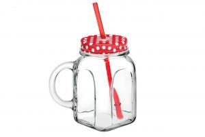 Mug boccale in vetro con cannuccia e capsula rossa cm.8x8x13h