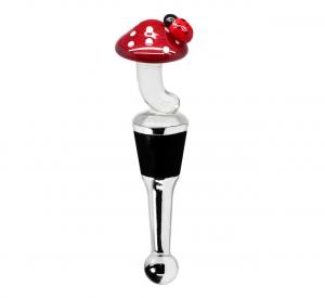 Tappo bottiglia vino con fungo e cocinella in vetro murano cm.11,5h