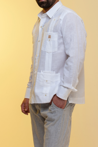 Guayabera Tradicional 50% linen 50% cotton white