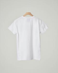 T-shirt bianca mezza manica con logo nero stampato XS-XL