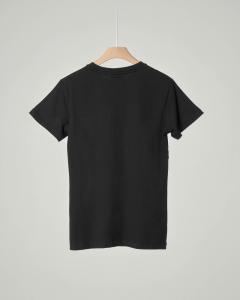 T-shirt nera mezza manica con logo bianco stampato XS-2XL