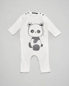 Tutina bianca con stampa panda 3-6 mesi